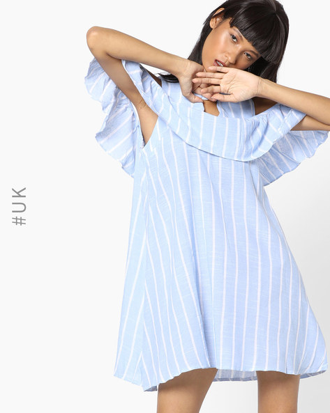 Striped Shift Dress With Cold-Shoulder Sleeves By OEUVRE ( Blue )