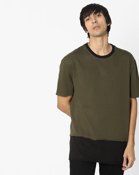 Colourblock Crew-Neck Sweatshirt By DEEZENO ( Green )