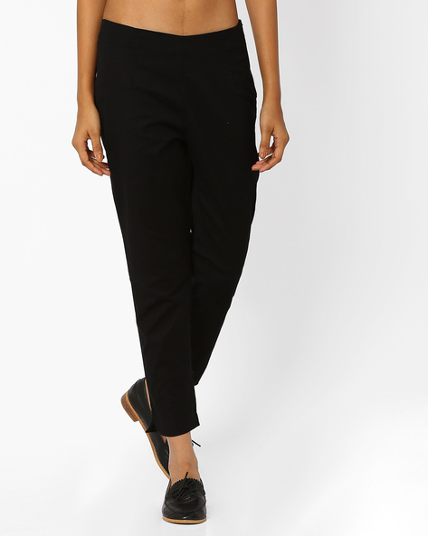 Ankle-Length Flat-Front Trousers By W ( Black )