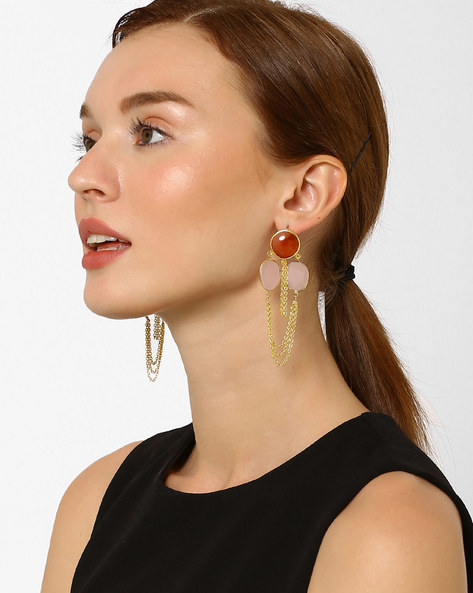 Carnelian & Quartz Drop-Earrings By AJIO ( Red )