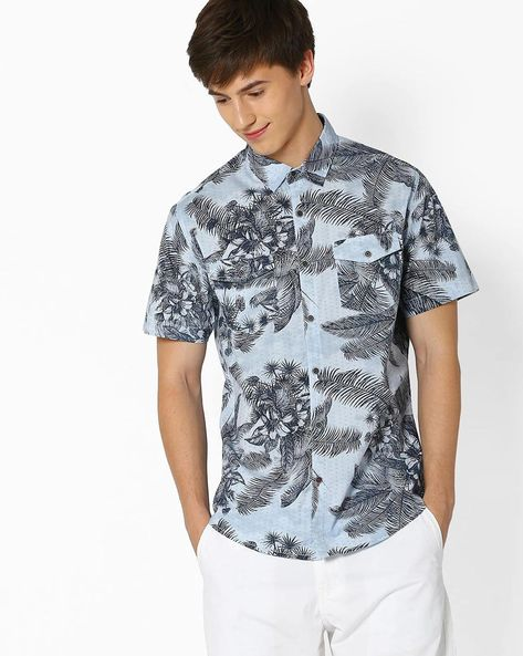 Tropical Print Slim Fit Shirt By DNM X ( Ltblue )