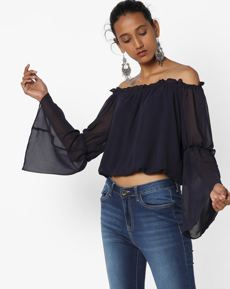 Off-Shoulder Top With Bell Sleeves By Avirate ( Navyblue )