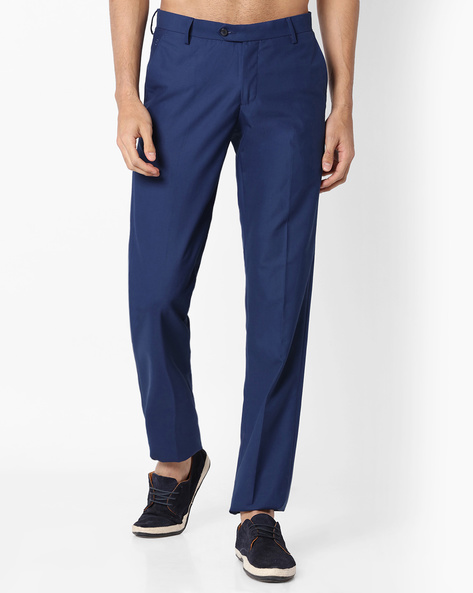 Slim Fit Flat-Front Trousers By VIMAL APPARELS ( Navy )