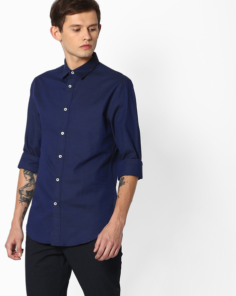 Slim Fit Shirt With Curved Hem By Celio ( Blue )