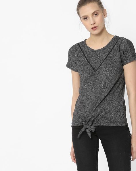 Front-Tie Grindle Top By ANONYMOUS CO ( Black )