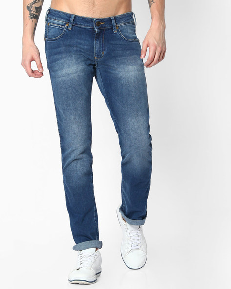 7 Icon Lightly Washed Slim Fit Jeans By WRANGLER ( Blue )