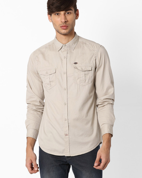 Slim Fit Casual Shirt By DNM X ( Beige )