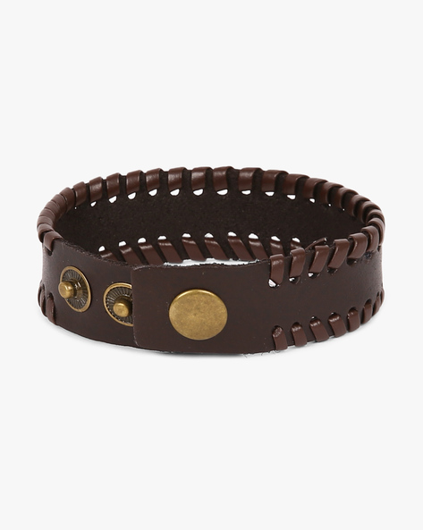 Bracelet With Woven Detailing By Eristona Man ( Brown )