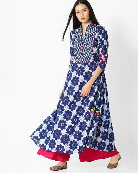 Floral Print A-line Kurta With Mandarin Collar By Jaipur Kurti ( Indigo )