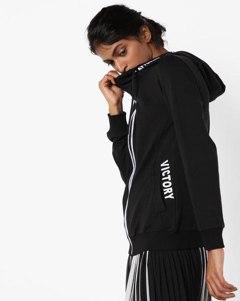 Typographic Print Sweatshirt With Drawstring Hood By Teamspirit ( Greymelange )