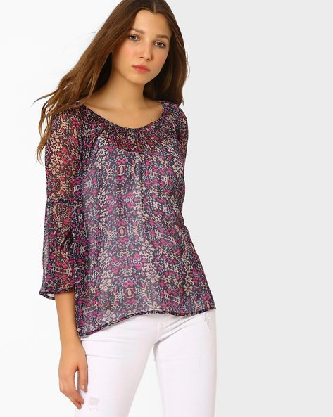 Printed Peasant Top With Bell Sleeves By AJIO ( Navyblue )