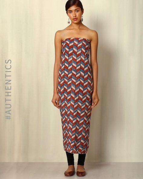 Ajrak Handblock Print Cotton Kurta Fabric By Indie Picks ( Multi ) - 460045257001