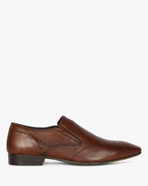 Genuine Leather Loafers With Brogue Upper By RED TAPE ( Brown )