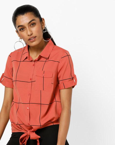 Windowpane Check Shirt With Tie-Up By Vero Moda ( Lightred )