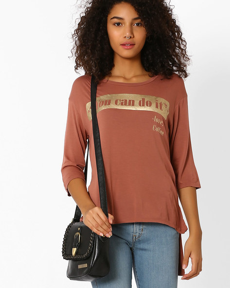 Printed High-Low Top By Only ( Brown )