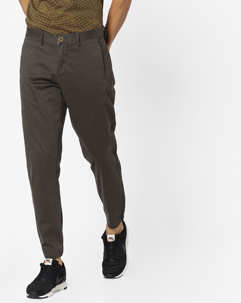 Stretch Joggers With Bellow Pockets By AJIO ( Olive )
