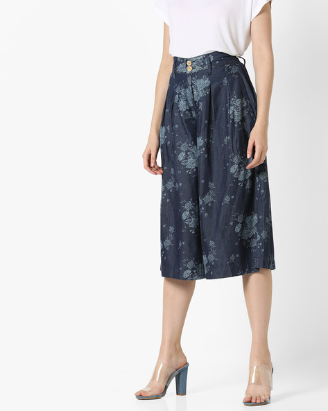 Floral Print Pleated Culottes By And ( Printed )