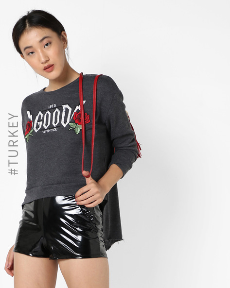Printed Sweatshirt With Back Slits By TIFFANY & TOMATO ( Grey )