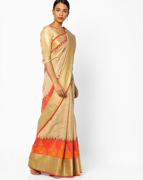 Saree With Contrast Border By Era ( Beige )