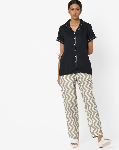 Shirt And Printed Pyjamas Set By Clovia ( Blue )