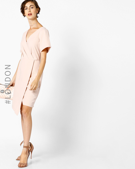 Wrap Dress With Uneven Hem By Closet London ( Pink )
