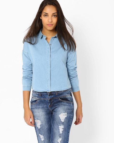 Crop Denim Shirt By AJIO ( Lightblue )