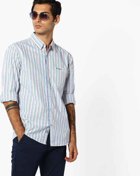 Oliver Striped Shirt With Patch Pocket By WRANGLER ( Green )