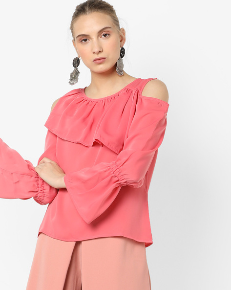 Cold-Shoulder Top With Bell Sleeves By AJIO ( Pink )