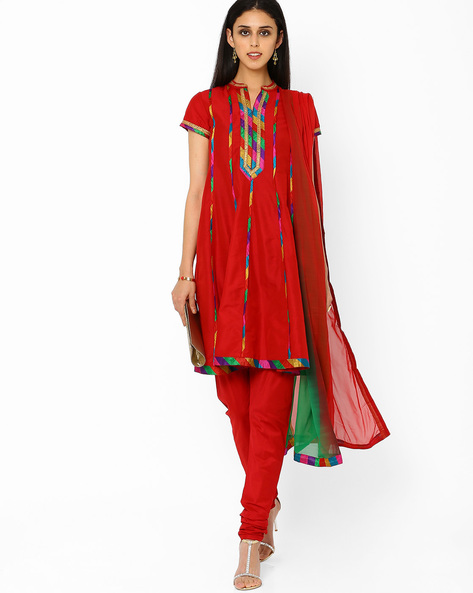 A-line Churidar Kurta With Dupatta By AJIO ( Red )