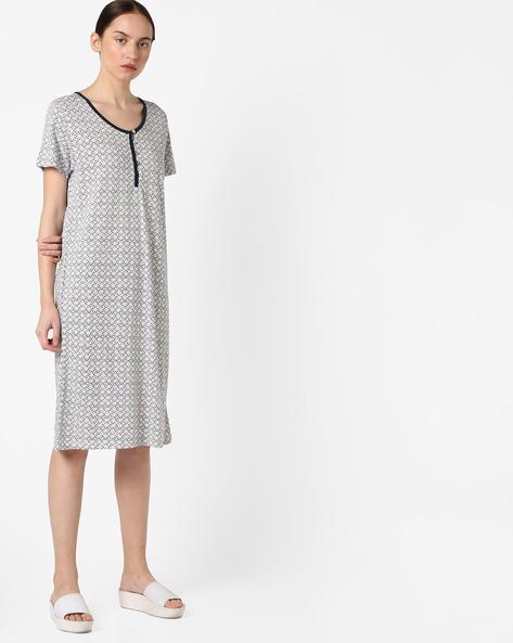 Printed Lounge Dress By Slumber Jill ( White )