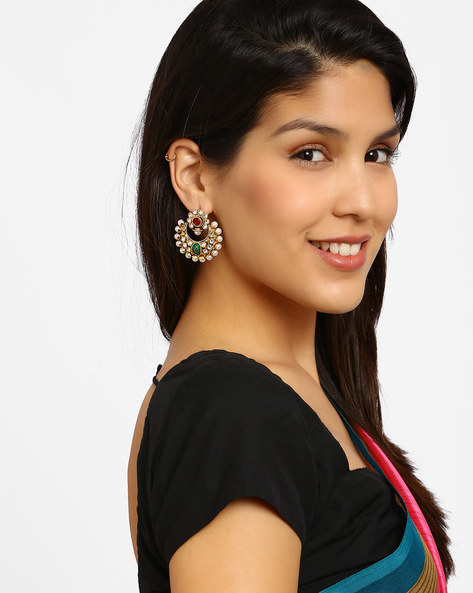 Gold-Plated Stone-Studded Chandbali Earrings By Fida ( White )