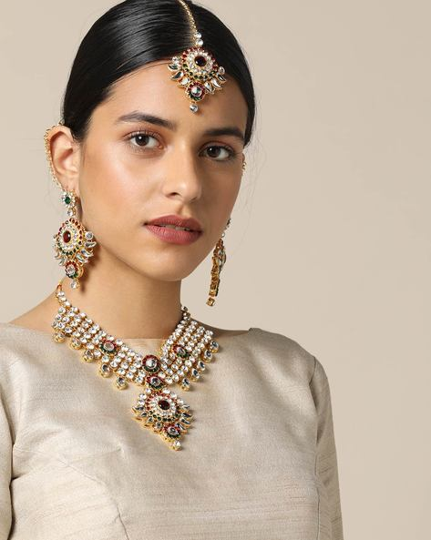 Wedding Necklace Set In Kundan By Spargz ( Gold )