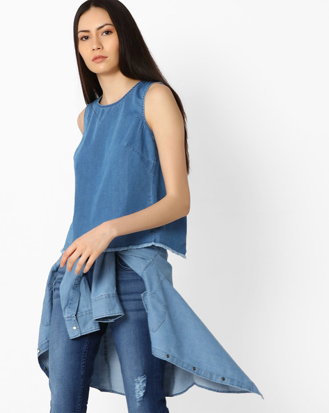 Cotton Top With Overlapping Back By Vero Moda ( Blue )