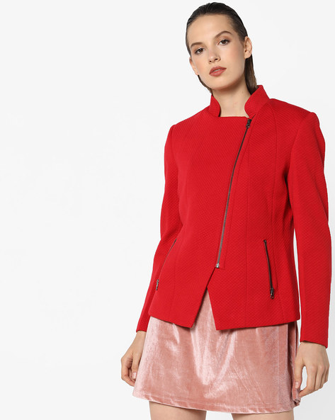 Quilted Jacket With Zippers By Fort Collins ( Red )