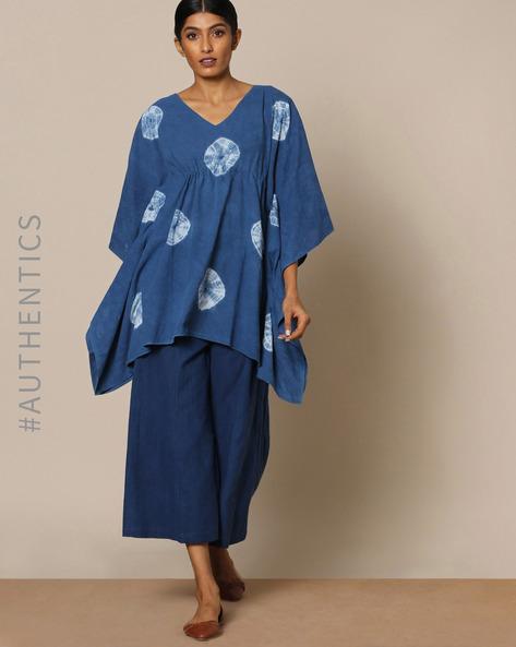 Hand Tie-Dyed Shibori Natural Indigo Cotton Kaftan Top By ANANDA ( Indigo )