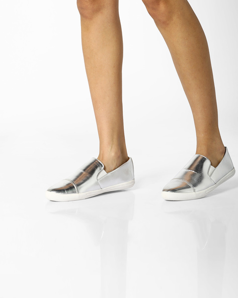 Casual Slip-Ons With Elasticated Inserts By AJIO ( Silver )