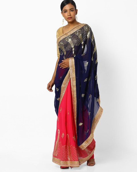 Half-and-Half Georgette Saree By CHHABRA 555 ( Blue )