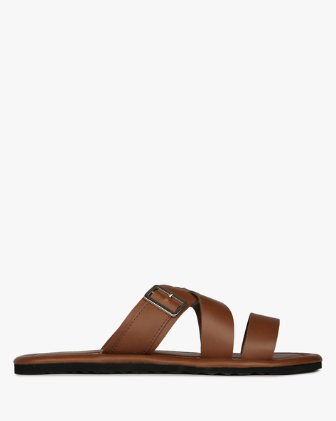 Flat Sandals With Criss-Cross Straps By DEXTER ( Brown )