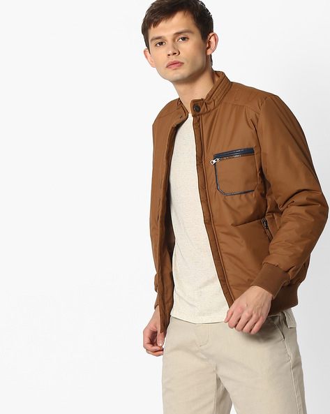 Quilted Regular Fit Bomber Jacket With Band Collar By Fort Collins ( Tan )