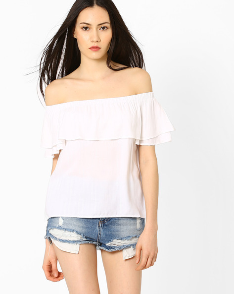 Off-Shoulder Top With Ruffles By AJIO ( White )
