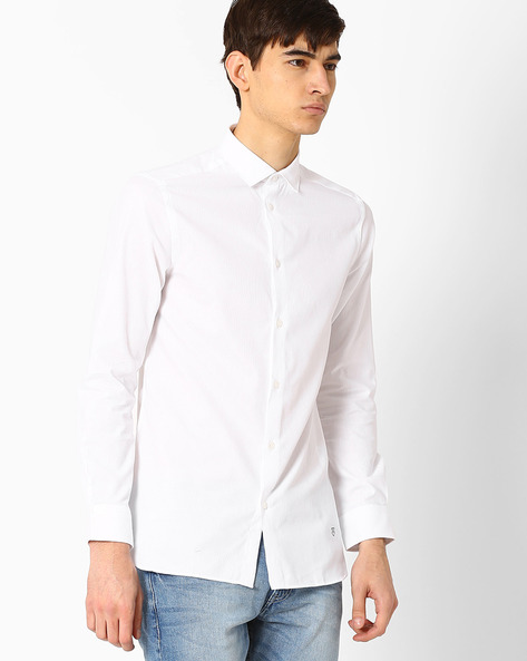 Cotton Shirt With Self-Design By Jack & Jones ( White )