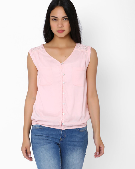 Sleeveless Top With Lace Yoke By FIG ( Pink )
