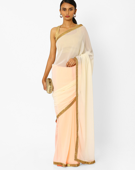 Georgette Designer Saree With Sequin Border By RCPC ( Peach )