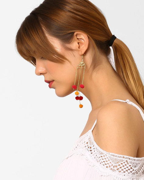 Handmade Drop-Earrings With Tassels By BLUEBERRY ( Gold )