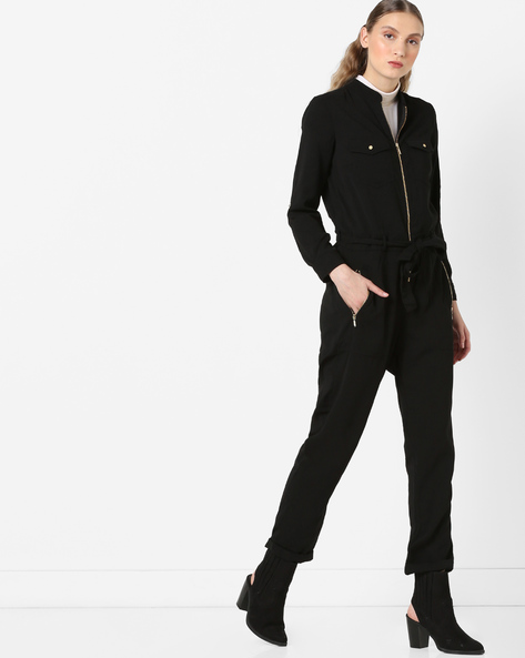 Zip-Front Jumpsuit With Tie-Up By Only ( Black )
