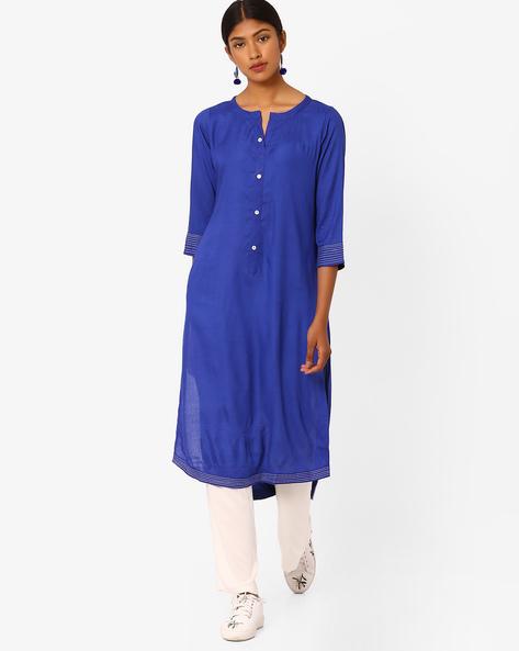 High-Low Kurta With Palazzo Pants By Jaipur Kurti ( Blue )