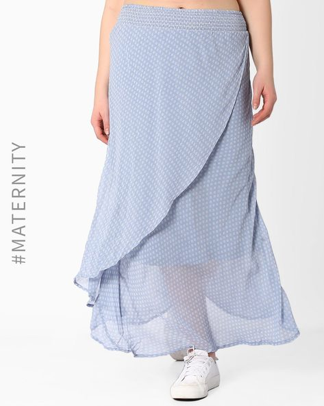 Layered Maternity Printed Skirt By Oxolloxo ( Blue )