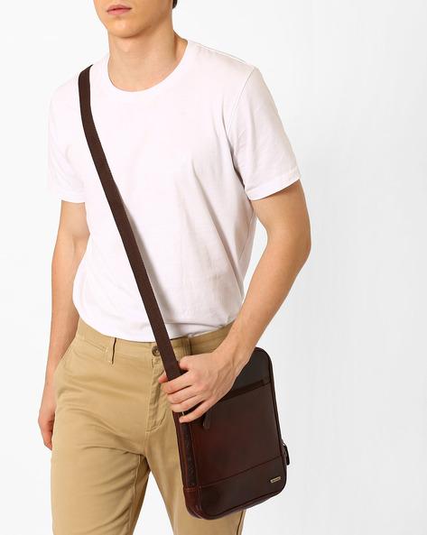 Genuine Leather Messenger Bag By TEAKWOOD LEATHERS ( Brown ) - 460053055001