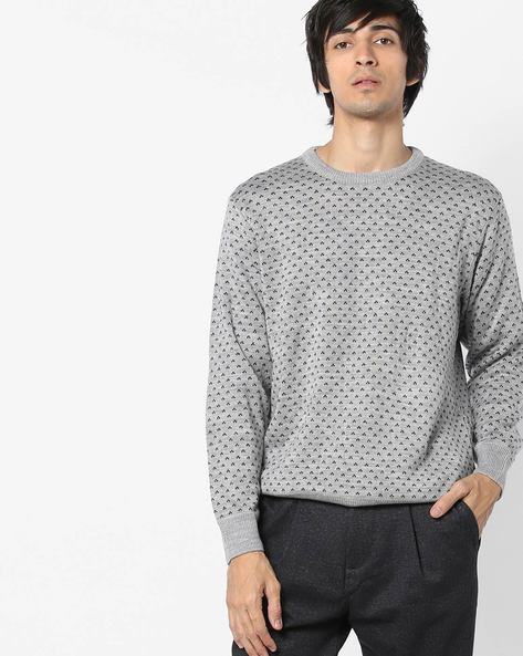 Knitted Crew-Neck Sweater By NETWORK ( Medgrey )