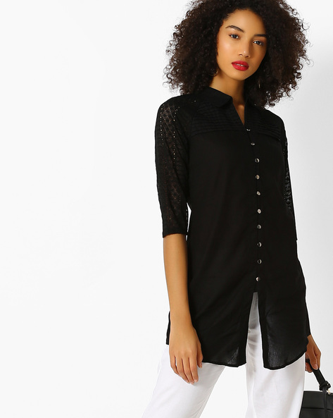 Shirt Tunic With Chikankari Sleeves By FUSION BEATS ( Black )